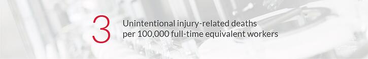 3 unintentional injury-related deaths per 100,000 full time equivalent workers - National Safety Council 2017 Workplace Injury Statistics